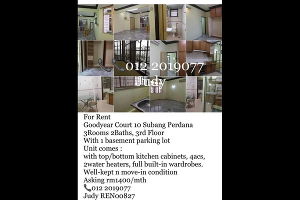 For Rent Apartment at Goodyear Court 10, UEP Subang Jaya Freehold Fully Furnished 3R/2B 1.4k