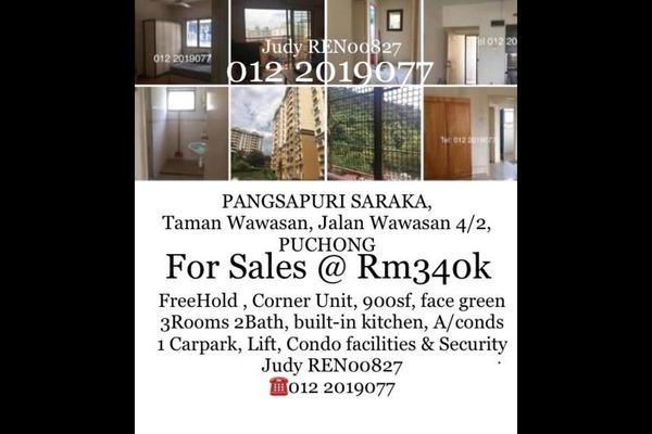 For Sale Apartment at Saraka Apartment, Pusat Bandar Puchong Freehold Semi Furnished 3R/2B 340k
