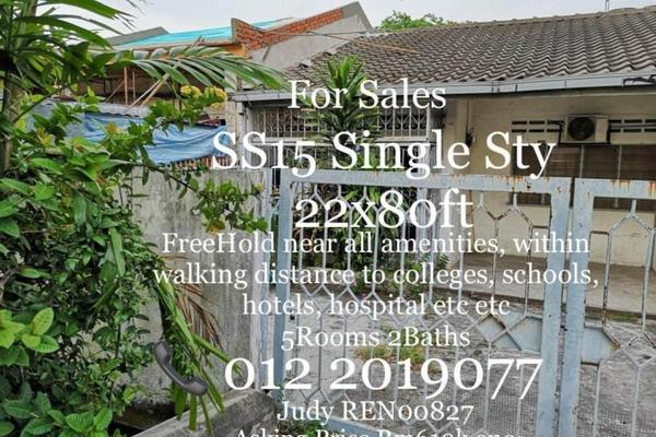 For Sale Terrace at SS15, Subang Jaya Freehold Semi Furnished 5R/2B 610k