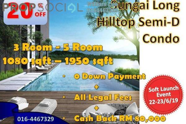 For Sale Serviced Residence at Alstonia Residence, Bandar Sungai Long Freehold Unfurnished 4R/5B 821k