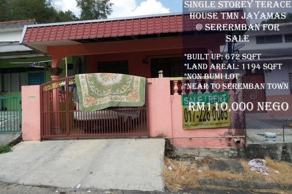 For Sale Terrace at Taman Jaya Emas, Seremban Freehold Unfurnished 3R/1B 110k