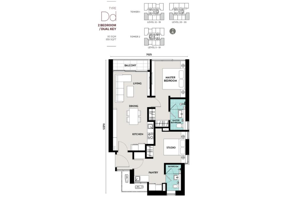 Lucentia Residences Type Dd (Dual-key) Floor Plan