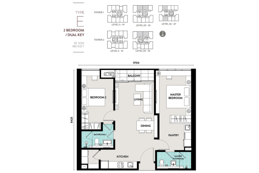 Lucentia Residences Type E (Dual-key) Floor Plan