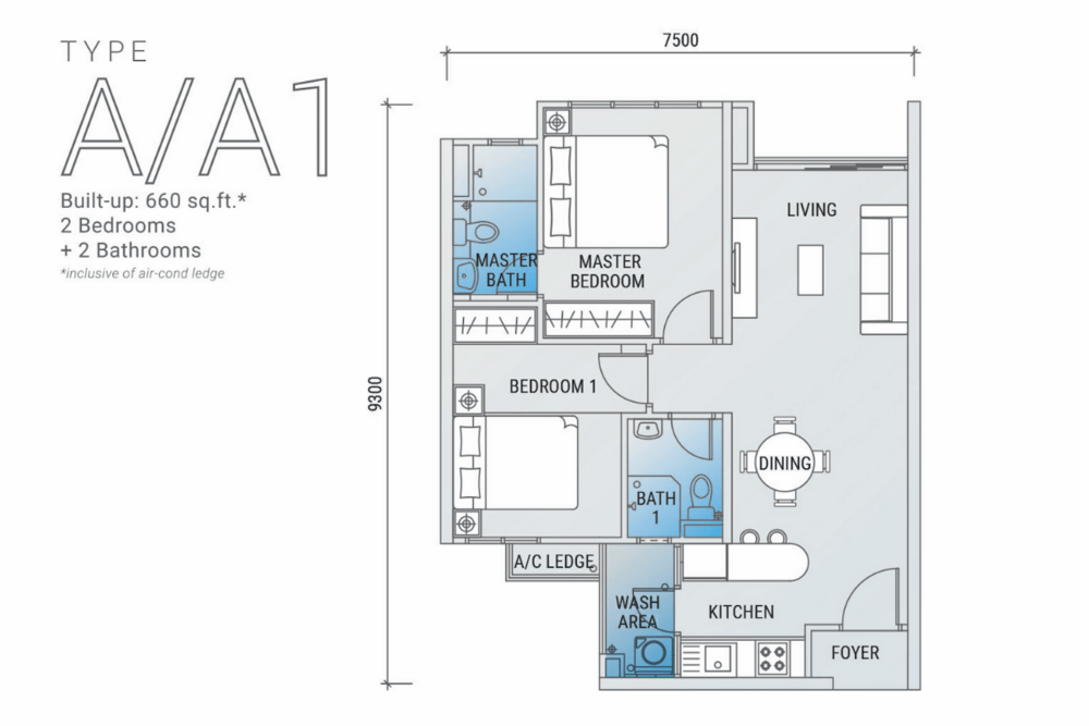Platinum Arena Type A/A1 Floor Plan