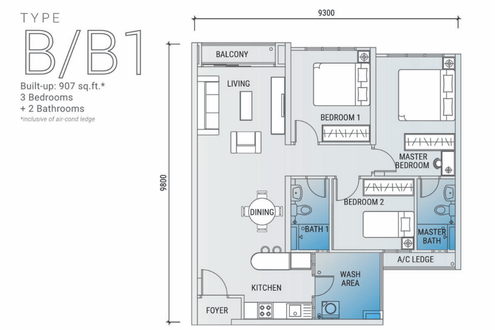 Platinum Arena Type B/B1 Floor Plan