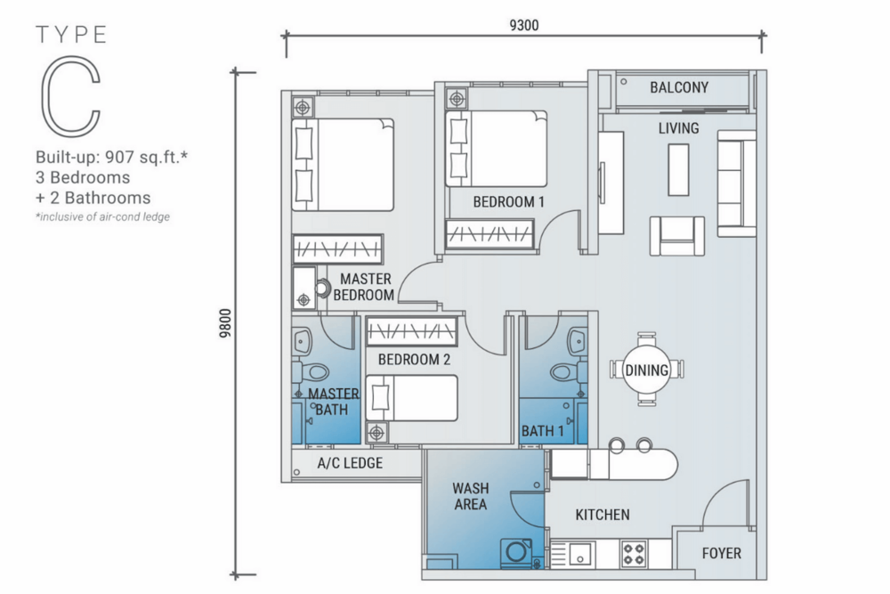 Platinum Arena Type C Floor Plan
