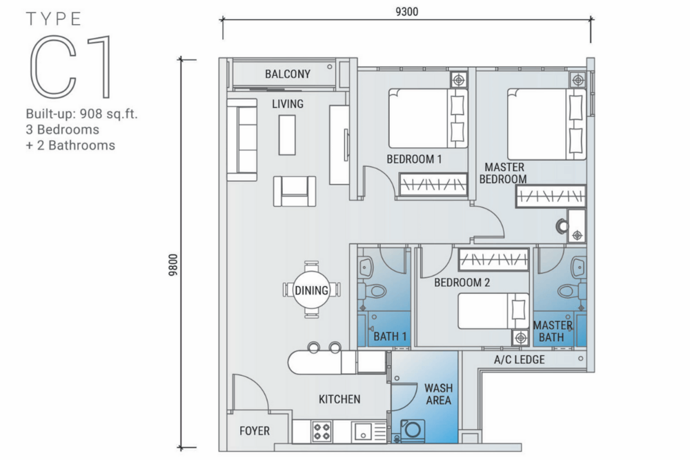 Platinum Arena Type C1 Floor Plan