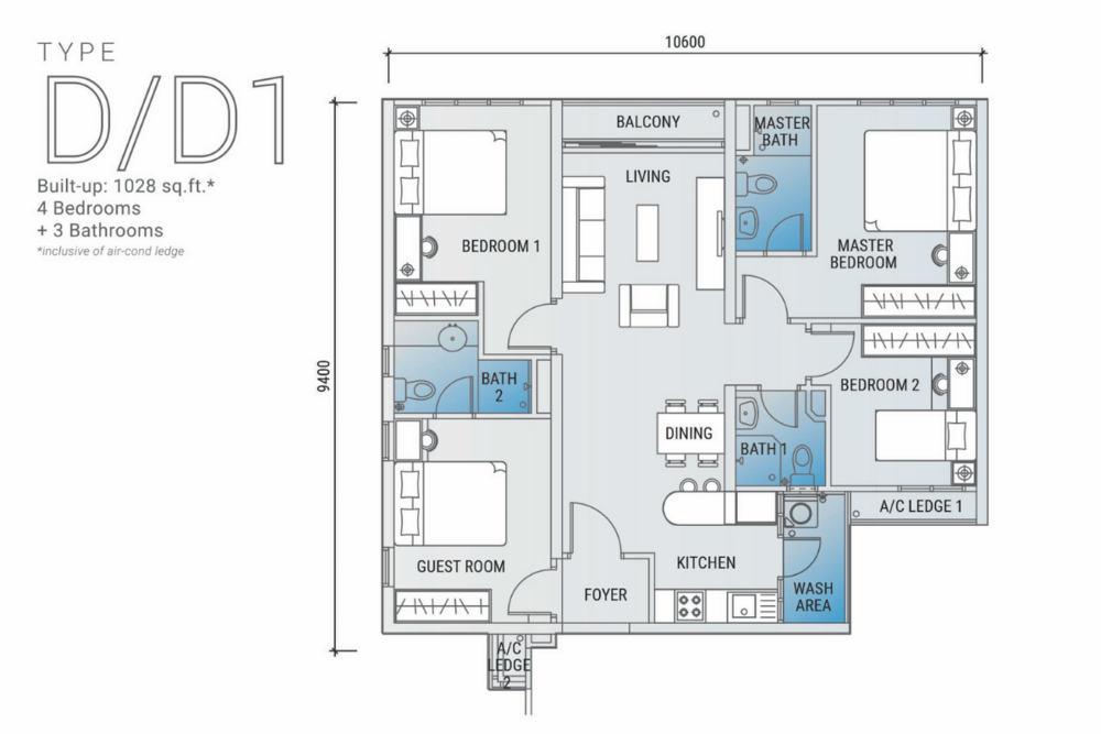 Platinum Arena Type D/D1 Floor Plan