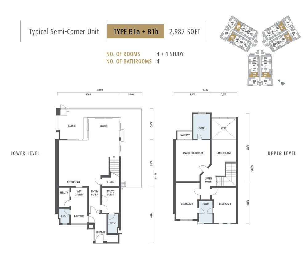 Armanee Terrace II Type B1a + B1b Floor Plan