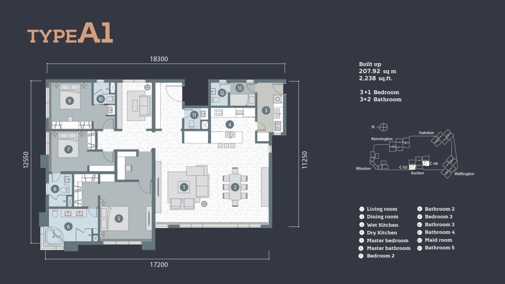 D'Rapport Residences Type A-1 Floor Plan
