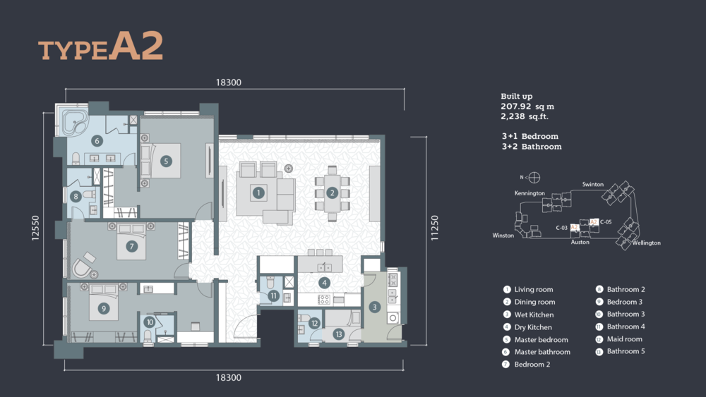D'Rapport Residences Type A-2 Floor Plan