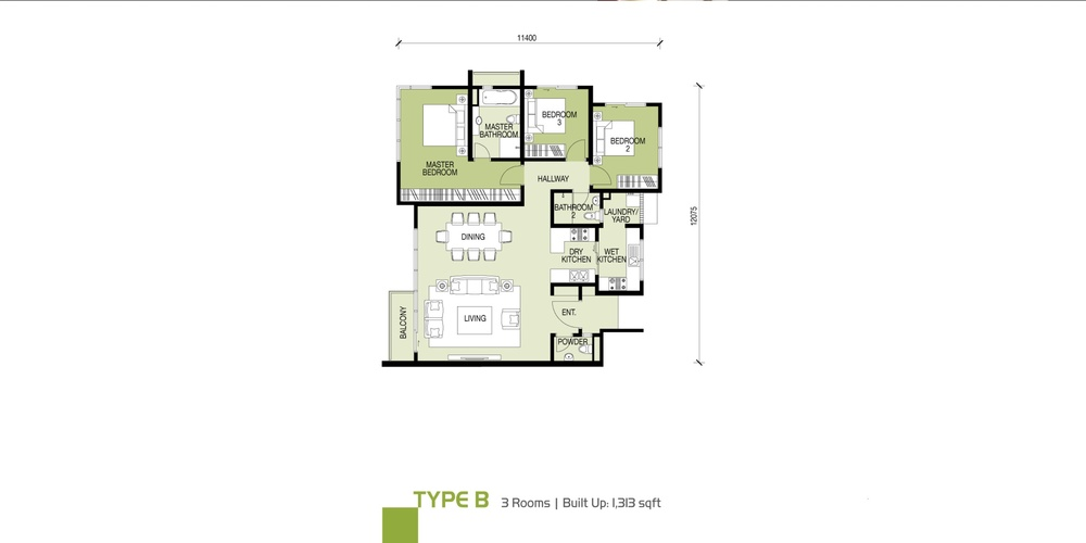 Glomac Damansara Type B Floor Plan