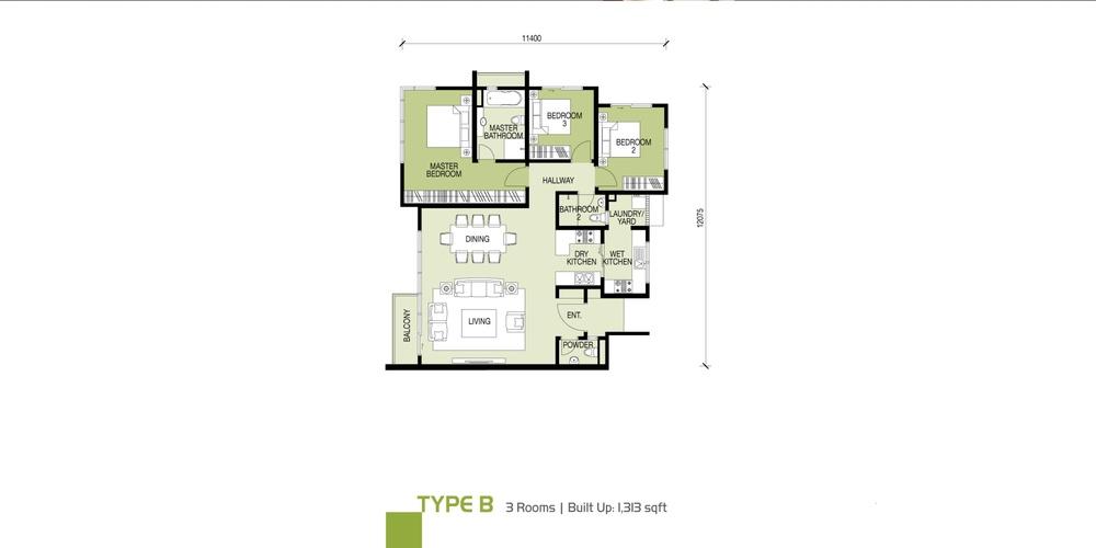 Glomac Damansara Type B Floor Plan