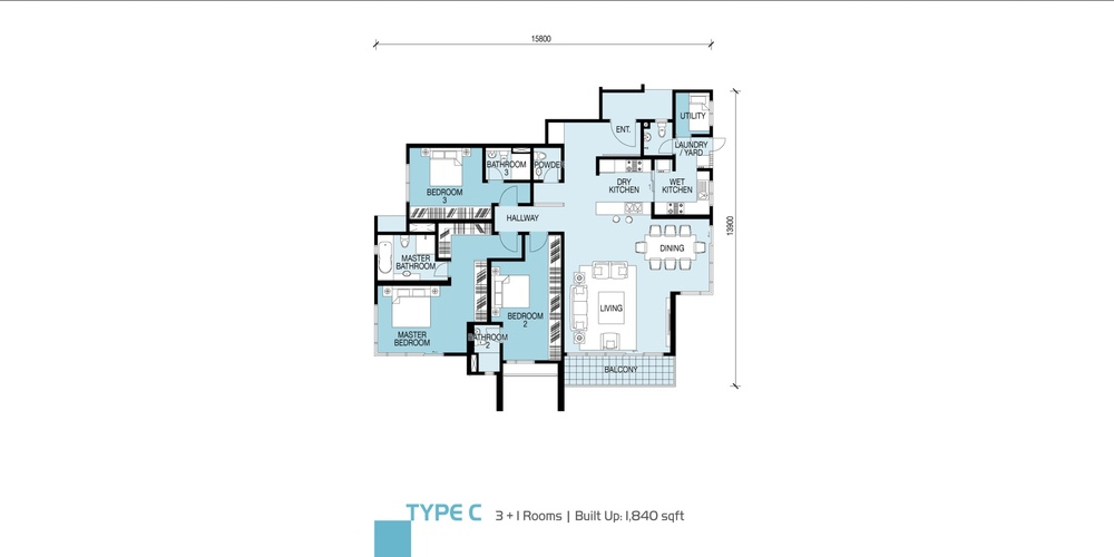 Glomac Damansara Type C Floor Plan