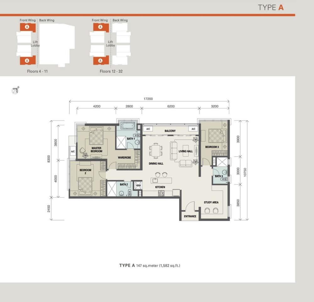 Suasana Bukit Ceylon Type A (Standard Unit) Floor Plan