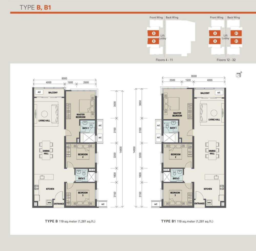 Suasana Bukit Ceylon Type B & B1 (Standard Unit) Floor Plan