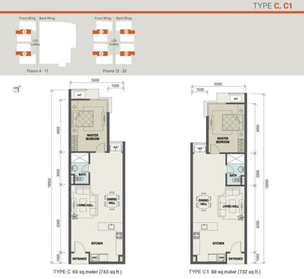 Suasana Bukit Ceylon Type C & C1 (Standard Unit) Floor Plan
