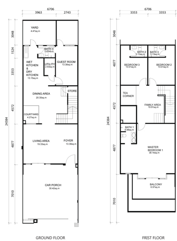 One Residence Sathu Terrace Type A Floor Plan