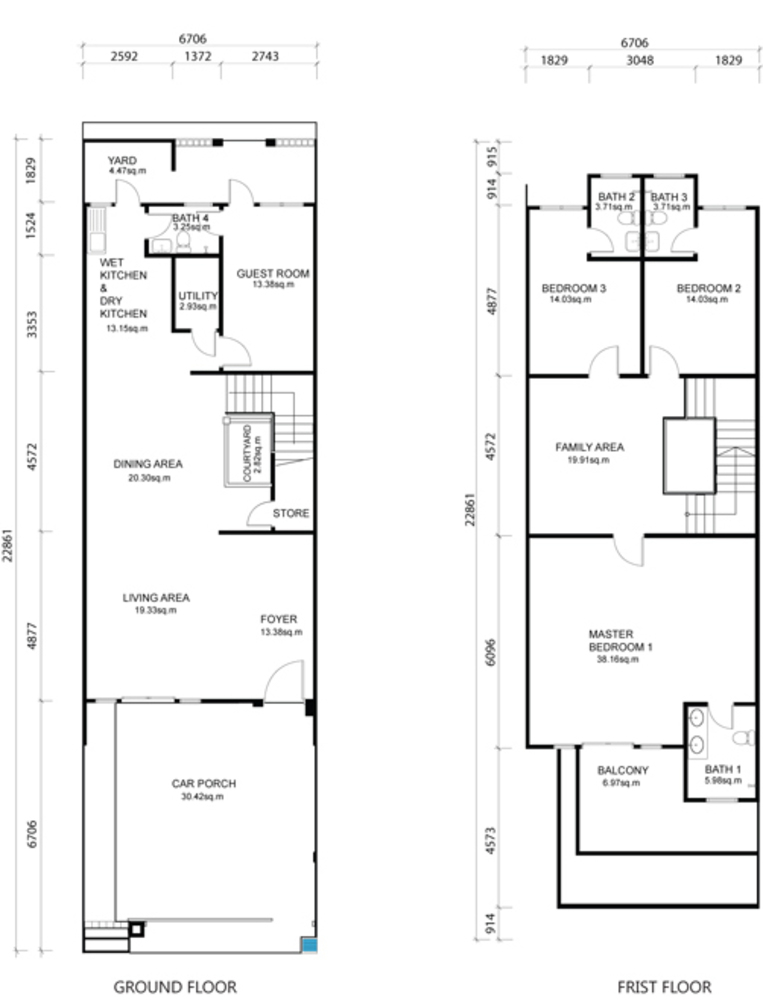 One Residence Sathu Terrace Type B Floor Plan
