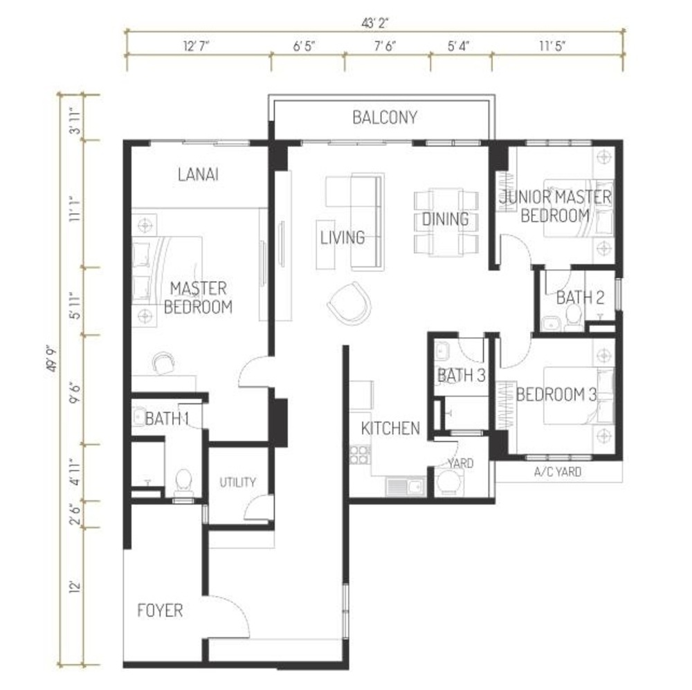 One Residence Solaria Residences Type A Floor Plan