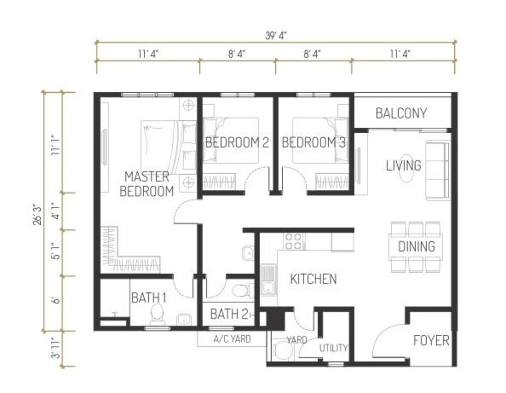 One Residence Solaria Residences Type D Floor Plan