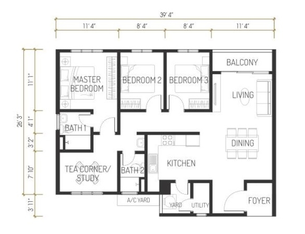 One Residence Solaria Residences Type F Floor Plan