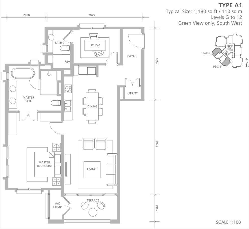 Quayside 18 East at Andaman Type A1 Floor Plan