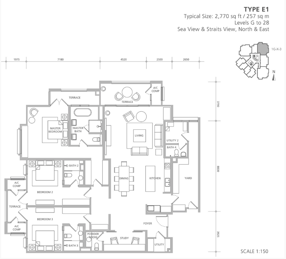 Quayside 18 East at Andaman Type E1 Floor Plan