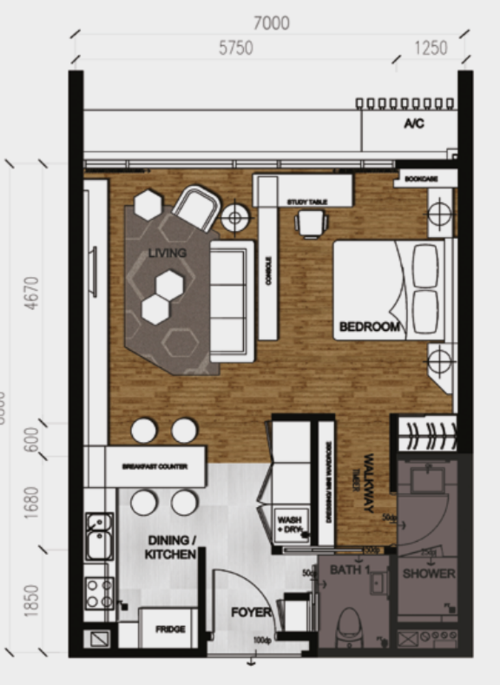 Anggun Residences Type A / A1 Floor Plan
