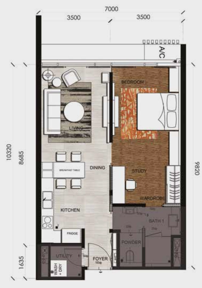 Anggun Residences Type B / B1 Floor Plan