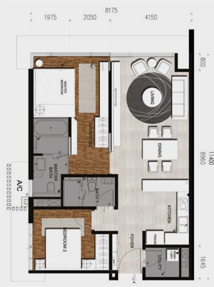 Anggun Residences Type C / C1 Floor Plan