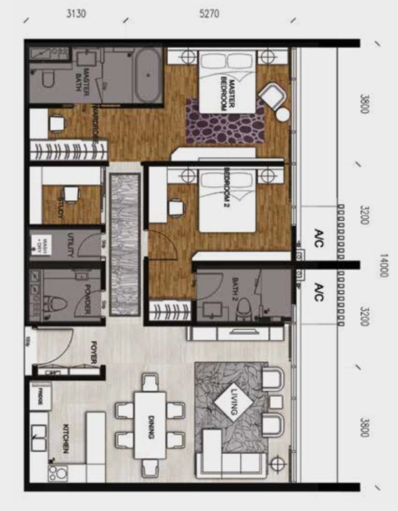 Anggun Residences Type D / D1 Floor Plan