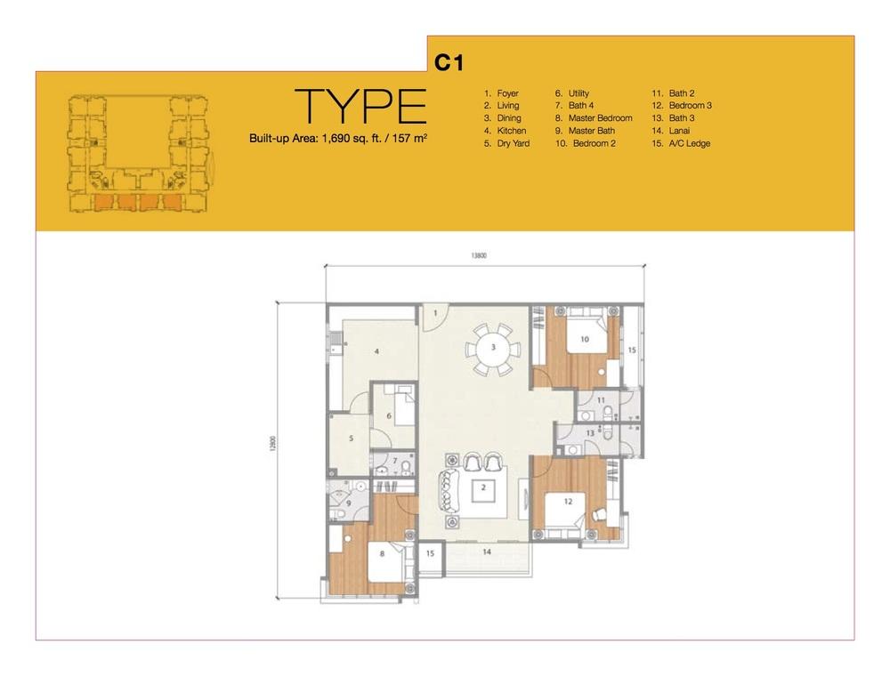 8 Petaling Type C1 Floor Plan