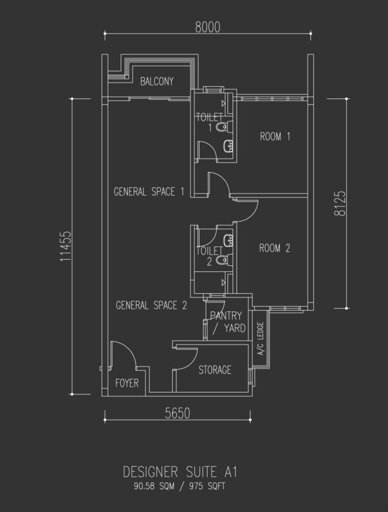 Univ 360 Place Designer Suite A1 Floor Plan