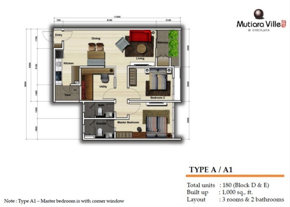 Mutiara Ville Tower D & E - Type A / A1 Floor Plan