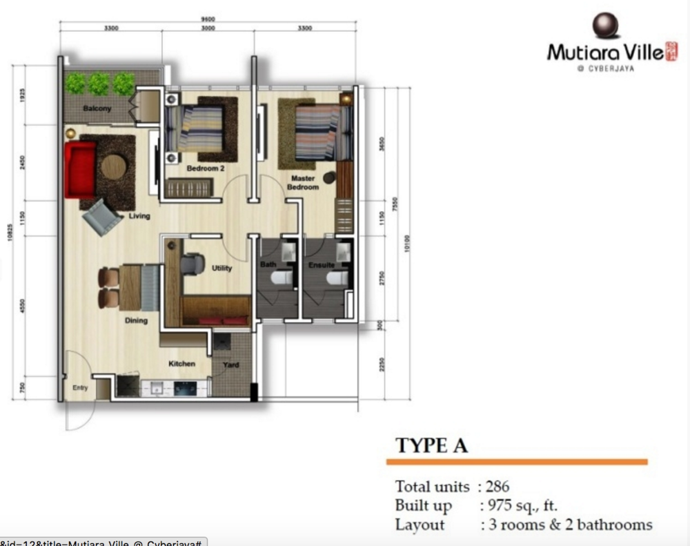 Mutiara Ville Tower F - Type A Floor Plan