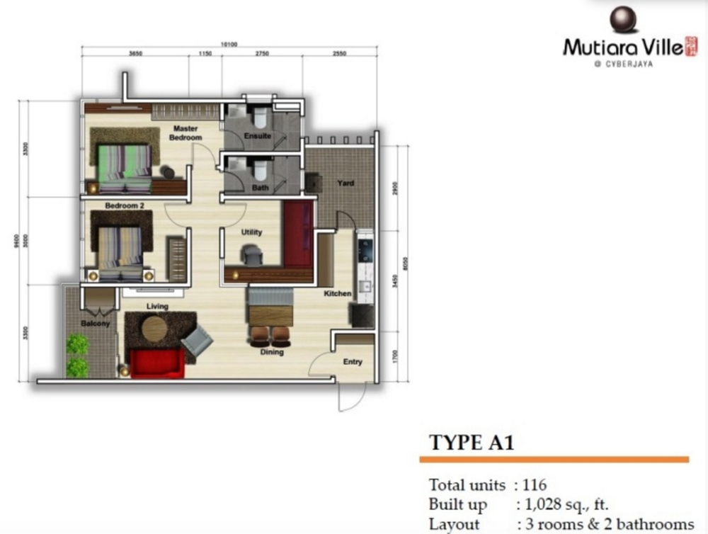 Mutiara Ville Tower F - Type A1 Floor Plan