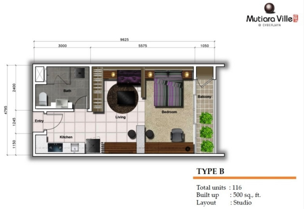 Mutiara Ville Tower F - Type B Floor Plan