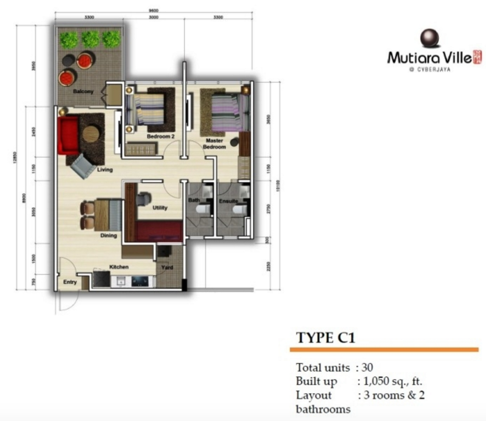Mutiara Ville Tower F - Type C1 Floor Plan