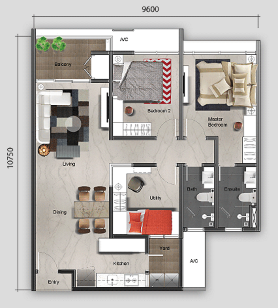 Mutiara Ville Tower G - Type A Floor Plan