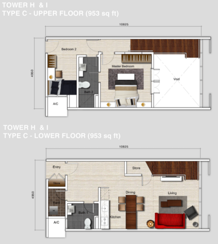 Mutiara Ville Tower H & I - Type C Floor Plan