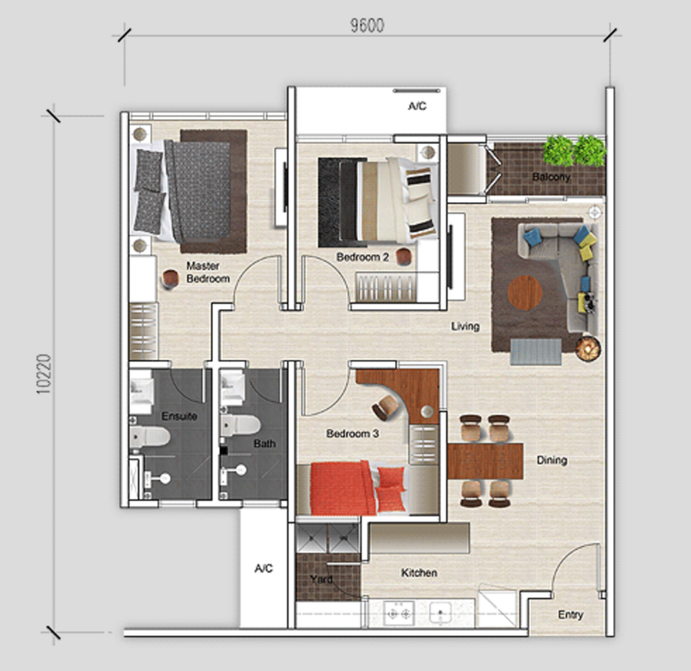 Mutiara Ville Tower J - Type A Floor Plan