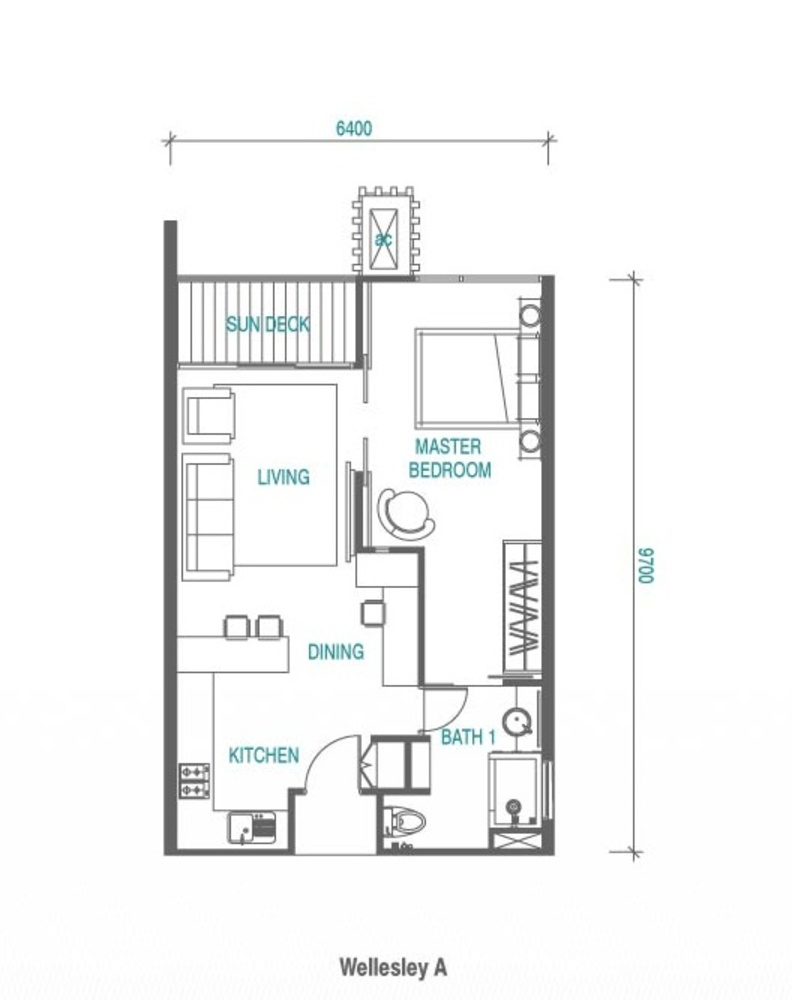 Wellesley Residences Studio  Floor Plan