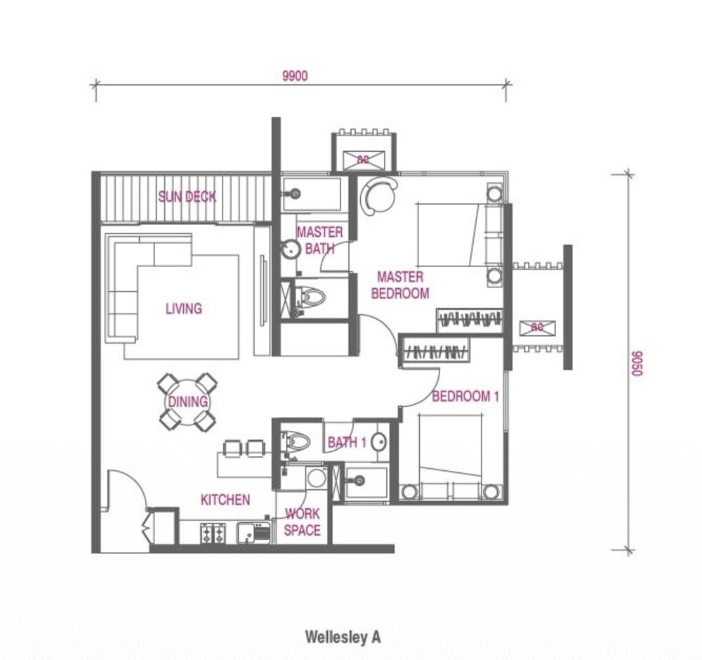 Wellesley Residences Family Deluxe B Floor Plan