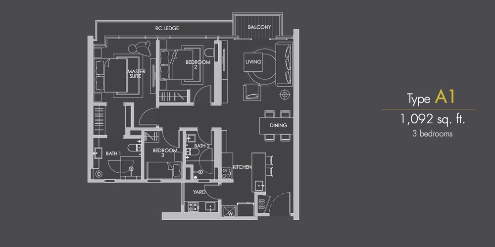 Reflection Residences Type A1 Floor Plan