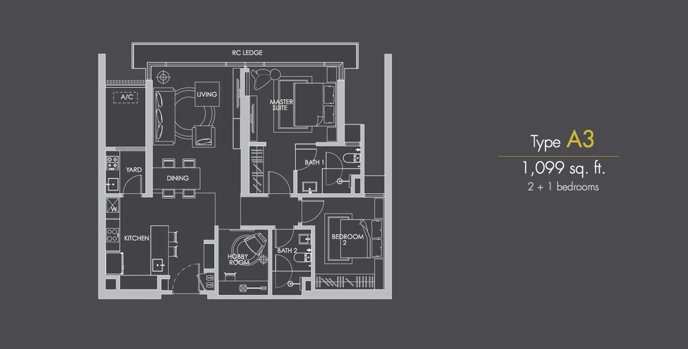 Reflection Residences Type A3 Floor Plan