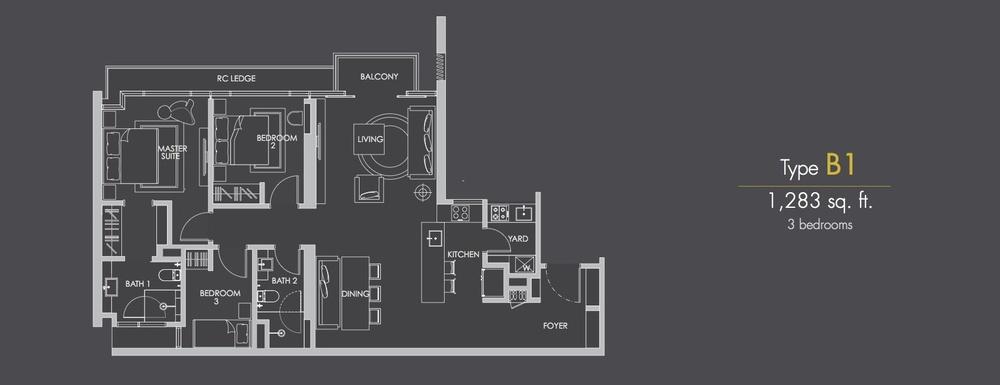 Reflection Residences Type B1 Floor Plan