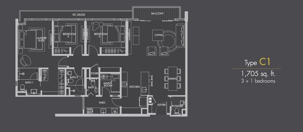 Reflection Residences Type C1 Floor Plan