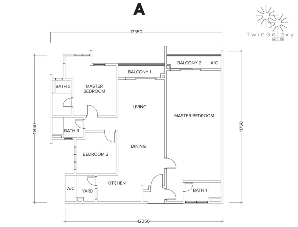 Twin Galaxy Type A (Dual Key) Floor Plan