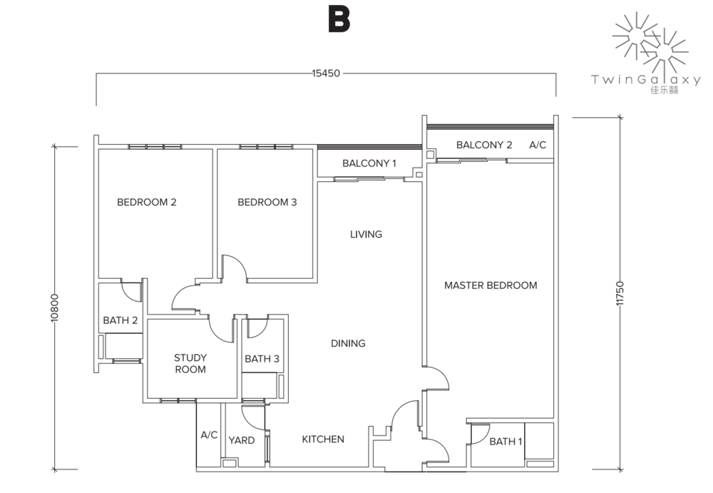 Twin Galaxy Type B (Dual Key) Floor Plan